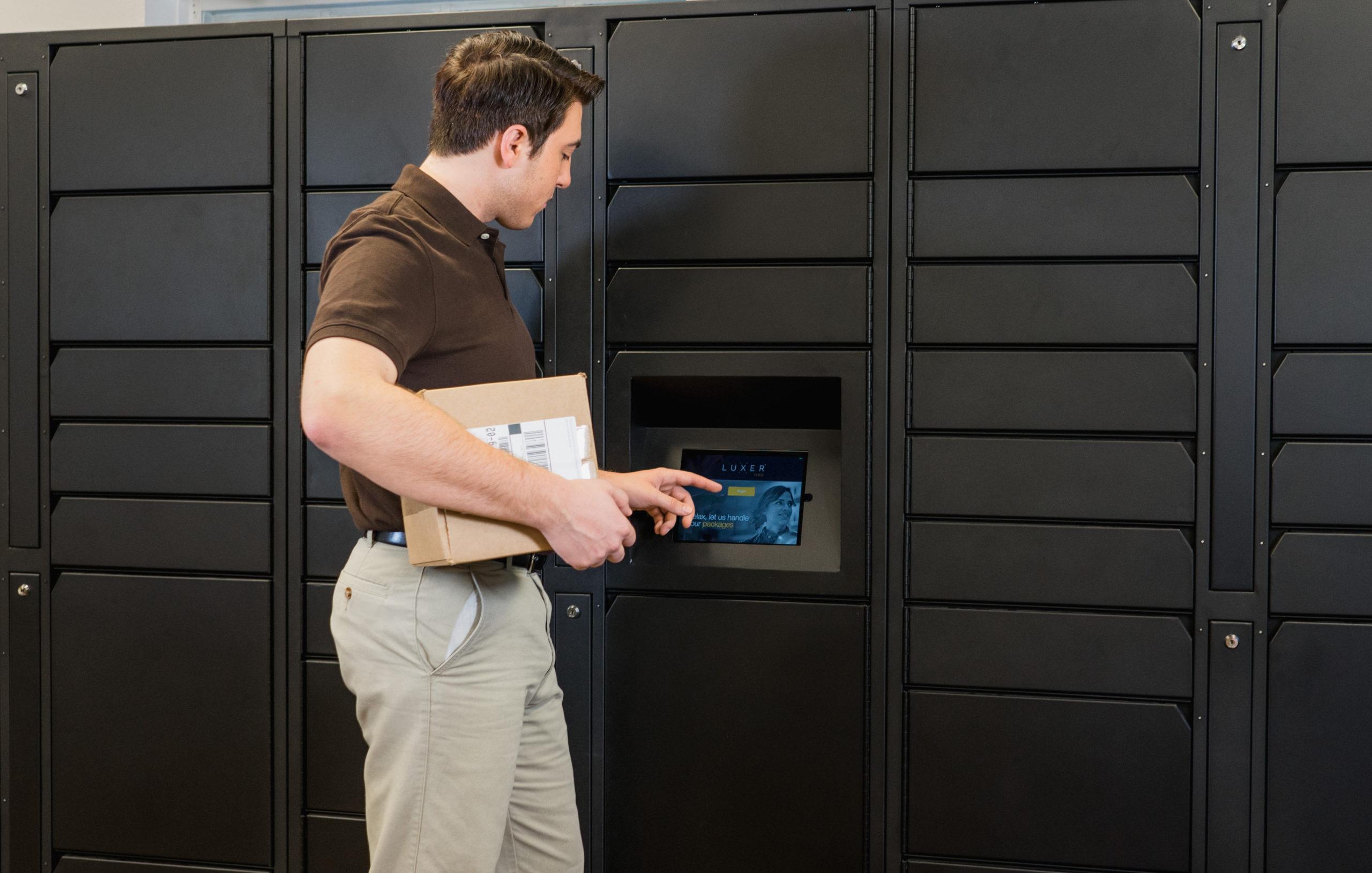 Luxer One Parcel Locker Carrier Using LCD
