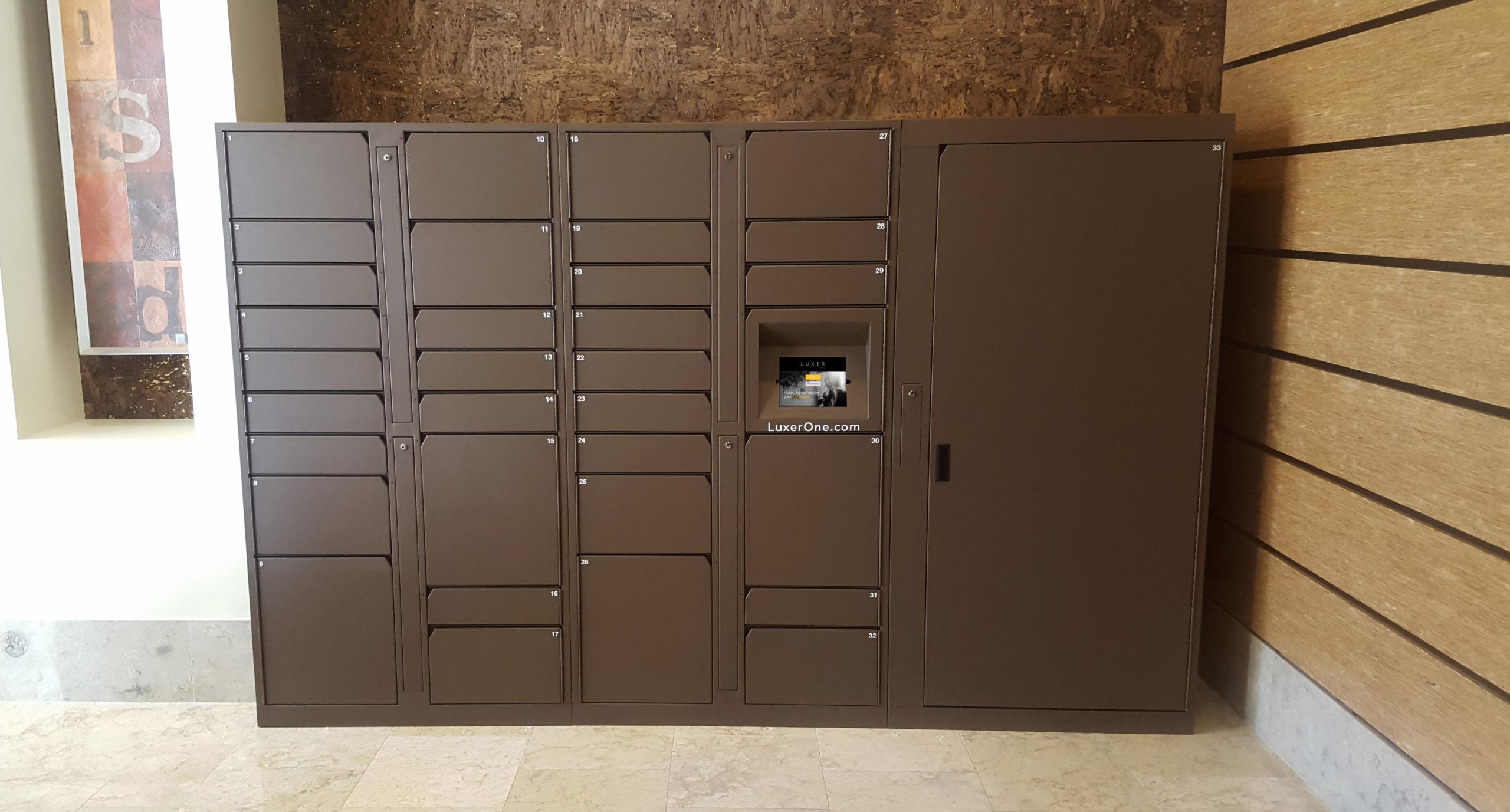 Brown Indoor Parcel Lockers from Luxer One